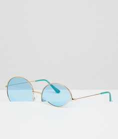 Круглые солнцезащитные очки в серебристой металлической оправе с синими стеклами AJ Morgan - Серебряный