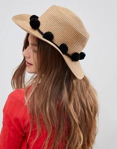 Соломенная шляпа с помпонами Pieces - Черный