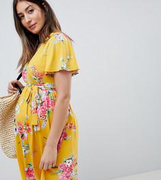 Чайное платье с V-образным вырезом, поясом и цветочным принтом ASOS DESIGN - Мульти