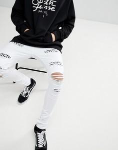 Белые джинсы скинни с рваной отделкой Sixth June - Белый