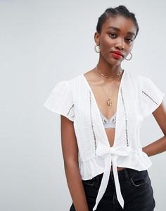 Блузка с вышивкой ришелье New Look - Белый