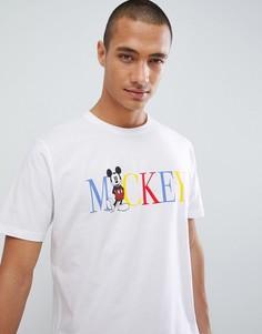 Свободная футболка с контрастной надписью и принтом Микки Мауса ASOS DESIGN - Белый
