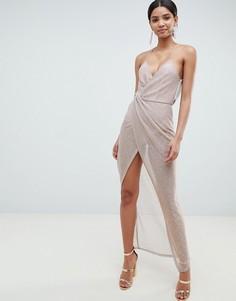 Платье макси с драпировкой ASOS DESIGN - Золотой