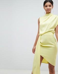 Атласное платье миди с драпировкой ASOS DESIGN - Желтый