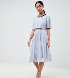 Приталенное платье миди с кроп-топом и 3D отделкой ASOS DESIGN Petite - Мульти