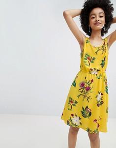 Короткое приталенное платье без рукавов с цветочным узором Only - Мульти