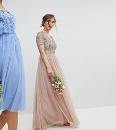 Платье макси с V-образным вырезом и однотонными пайетками Maya Petite - Коричневый