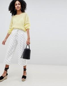 Широкие брюки в горошек Lost Ink - Белый