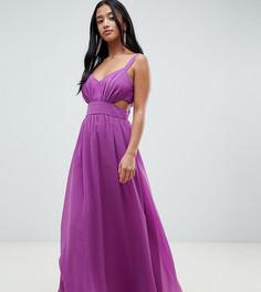 Платье макси на бретелях с вырезами ASOS DESIGN Petite - Фиолетовый