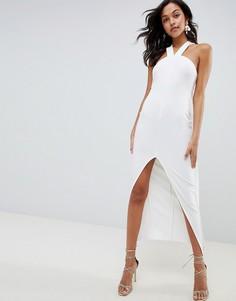 Платье макси с бретелями и кейпом ASOS DESIGN - Белый