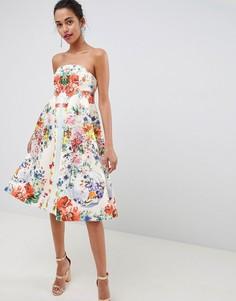 Платье-бандо миди для выпускного с цветочным принтом ASOS DESIGN - Мульти