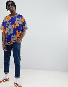 Сетчатая футболка oversize с цветочным принтом ASOS DESIGN - Мульти