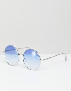 Круглые солнцезащитные очки в синей оправе Jeepers Peepers - Синий