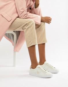 Кожаные кроссовки с отделкой цвета розового золота Fred Perry B721 - Белый