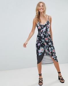 Платье миди в горошек и цветочек ASOS DESIGN - Мульти