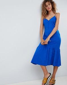 Жаккардовое платье-комбинация миди с оборкой ASOS DESIGN - Синий