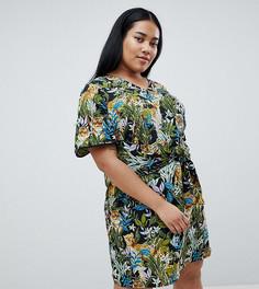 Платье с тропическим принтом и завязкой Junarose - Черный