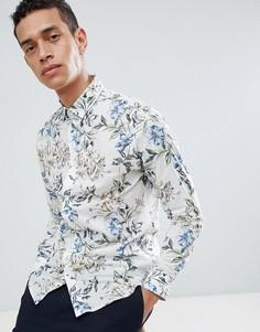 Рубашка с короткими рукавами и цветочным принтом Selected Homme - Белый