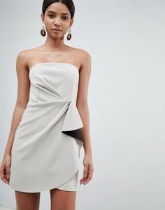 Платье мини в стиле оригами ASOS DESIGN - Серый