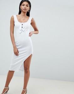 Асимметричное платье миди в рубчик ASOS DESIGN - Белый