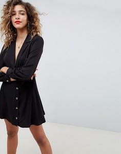 Платье мини на пуговицах с запахом ASOS DESIGN - Черный