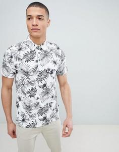Футболка-поло с пальмово-цветочным принтом Burton Menswear - Белый