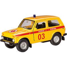 """Коллекционная машинка Autotime """"Lada 4х4 Скорая помощь"""" 1:36, желтая"""