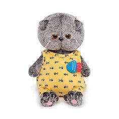 Мягкая игрушка Budi Basa Кот Басик Baby в желтом комбинезоне с рыбкой, 20 см