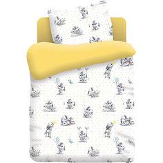 Детское постельное белье 3 предмета Непоседа, Зайчата, желтый