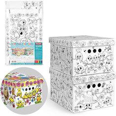"""Короб-раскраска картонный, складной, """"Птички"""", 25*33*18.5 см., набор из 2 шт., VALIANT"""