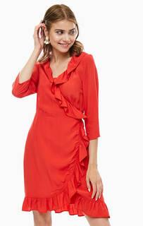 Красное платье из вискозы на завязках Ichi