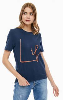 Синяя хлопковая футболка оверсайз Ichi