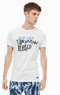 Хлопковая футболка молочного цвета с принтом Blend
