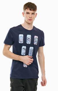 Синяя хлопковая футболка с принтом Blend
