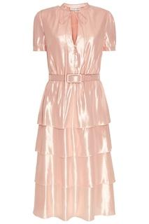 Розовое платье из блестящего шелка Alexander Terekhov