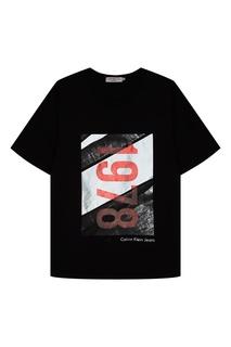 Черная футболка с контрастным принтом Calvin Klein