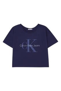 Синяя хлопковая футболка с логотипом Calvin Klein