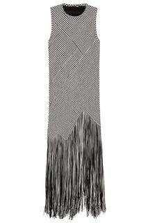 Черно-белое платье с бахромой Proenza Schouler