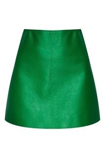 Зеленая юбка-мини из хлопка Courreges