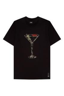Черная футболка с кристаллами Fendi
