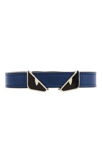 Синий кожаный браслет Fendi