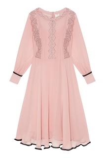 Розовое платье из шелка с кружевом The Dress