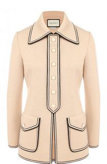 Шерстяной жакет с накладными карманами на пуговицах Gucci
