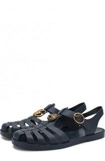 Резиновые сандалии с декоративной отделкой Gucci