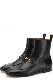Кожаные ботинки Jordaan с пряжкой-трензелем Gucci