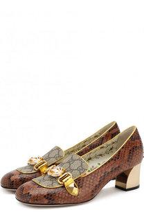 Туфли из кожи питона на устойчивом каблуке Gucci