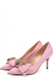 Кожаные туфли с бантом на шпильке Gucci