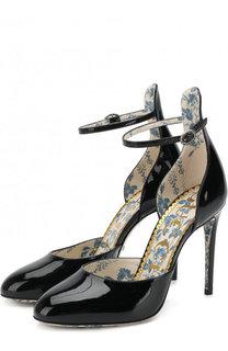 Лаковые туфли с ремешком на шпильке Gucci
