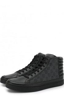 Высокие кожаные кеды GG Supreme на шнуровке Gucci