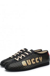 Кожаные кеды Falacer на шнуровке Gucci